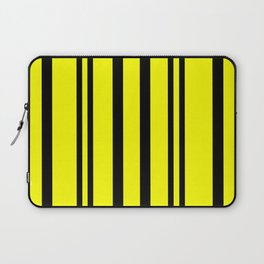 NEON YELLOW AND BLACK THIN AND THICK STRIPES Laptop Sleeve