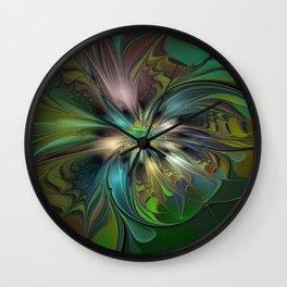 Colorful Abstract Fractal Art Wall Clock