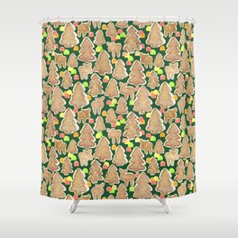 Gingerbread Moose, Trees and Gumdrops Shower Curtain