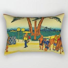 Vintage Japanese Woodblock - Ishibe Japan Rectangular Pillow