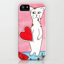 Meow The Cat Valentine's Day Chocolate Sadness Binge iPhone Case
