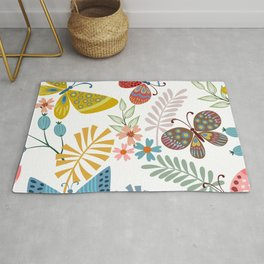 Cute, Colorful, Butterfly and Floral Garden Rug
