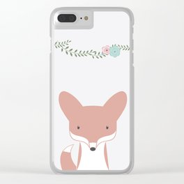 Fox portait, floral Clear iPhone Case