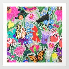 Butterflies and Moths Pattern - Grey Art Print