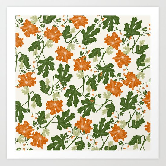 Orange Vintage Flower Pattern Art Print