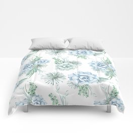 Succulents Pastel Mint Green Turquoise Teal Sky Blue Pattern Comforters