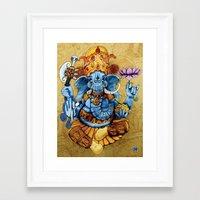 ganesh Framed Art Prints featuring Ganesh by RICHMOND ART STUDIO