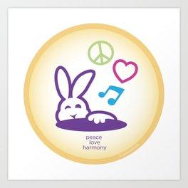 Peace Love Harmony Bunny Rabbit Art Print