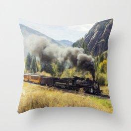 Steam Engine Locomotive Throw Pillow
