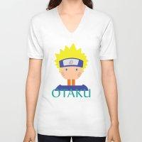 naruto V-neck T-shirts featuring Naruto icons by Maha Akl
