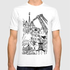 Three City Silhouettes MEDIUM White Mens Fitted Tee