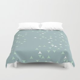 Minty_ Blue_Triangles Duvet Cover