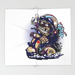 Smoke Skull Driver Moped - Navy Throw Blanket