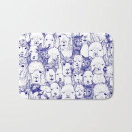 just alpacas blue white Bath Mat