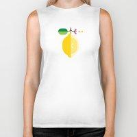 fruit Biker Tanks featuring Fruit: Lemon by Christopher Dina