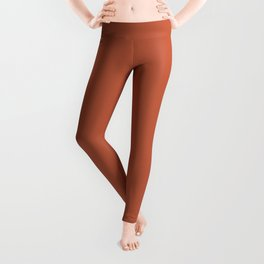 Burnt Orange Solid Color Pantone Spice Route 17-1345 Accent to Color of the Year 2021 Leggings