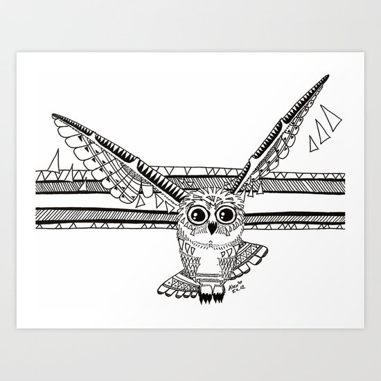 Owl fly you through the night Art Print