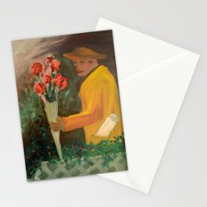 Man with flowers  Stationery Cards
