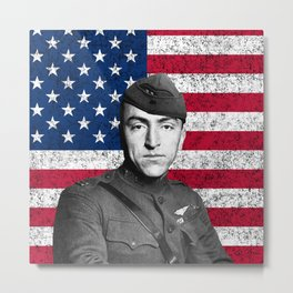 Eddie Rickenbacker And The American Flag Metal Print