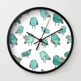 Flock Of Birds - Green Wall Clock