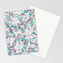 Pink and Teal Abstract Watercolor and Geometric Stationery Cards