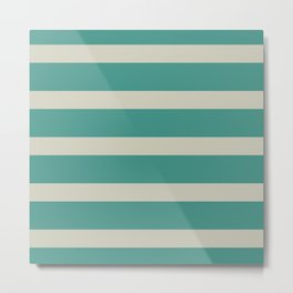 Turquoise and Buff Stripes. Minimalist Clean Color Block Pattern Metal Print