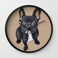french Wall Clocks featuring French Bulldog by PaperTigress