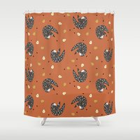 sloths Shower Curtains featuring Sleepy Sloths by Marzipress