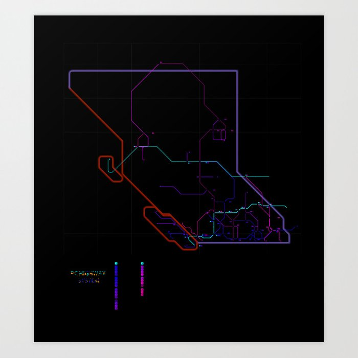 As A Subway Map.British Columbia S Highways As A Subway Map Art Print