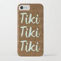 tiki iPhone & iPod Cases featuring Tiki Tiki Tiki - Beige/ Mint by YouNameIt