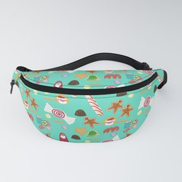 Christmas Sweeties Candies, Peppermints, Candy Canes and Chocolates on Aqua Fanny Pack