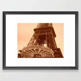 Eiffel Tower Carousel in sepia  Framed Art Print