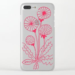 Dandelion Pink Clear iPhone Case