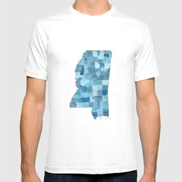 Mississippi Counties Blueprint watercolor map T-shirt