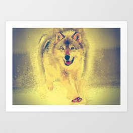 wolf canvas painting Art Print