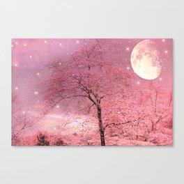 Surreal Fantasy Fairy Tale Pink Nature Trees Stars Full Moon Canvas Print