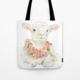 Baby Lamb Floral Watercolor Farm Animal Tote Bag
