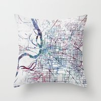 memphis Throw Pillows featuring Memphis map by MapMapMaps.Watercolors