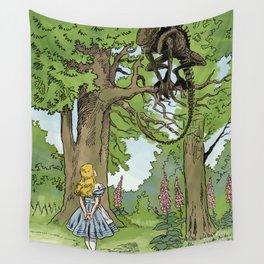 Alice Meets The Alien in Wonderland Wall Tapestry
