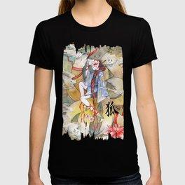 Nine tailed fox kitsune spirit in a form of human kimono girl T-shirt