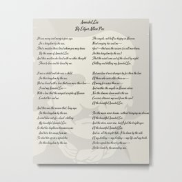 Annabel Lee Poem by Edgar Allan Poe Metal Print