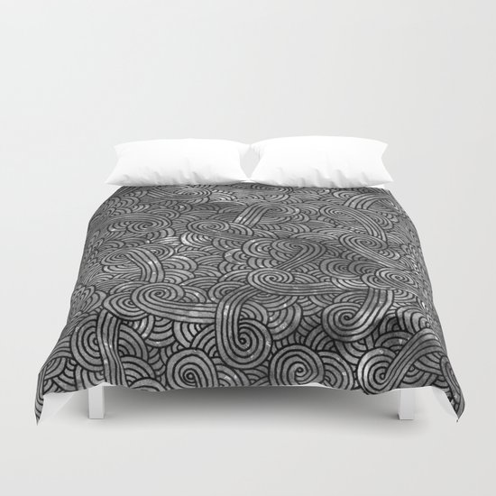 Grey and black swirls doodles Duvet Cover