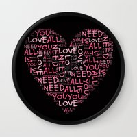 all you need is love Wall Clocks featuring Love is all you need by Geni