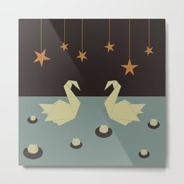 Origami swan Metal Print