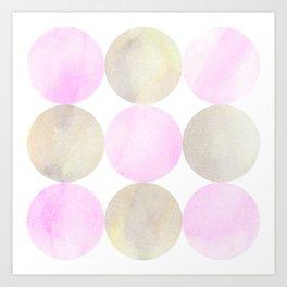 Pink And Grey Painted Circles  Art Print