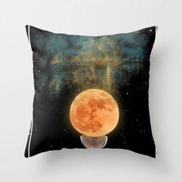 Moon Head's dream Throw Pillow