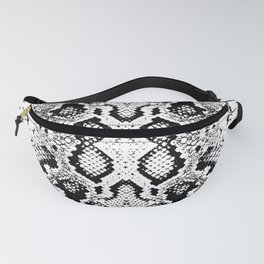 Snake skin texture. black white. simple ornamen Fanny Pack