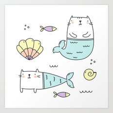Ocean Merkitties Art Print