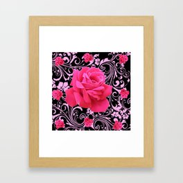 ORNATE  BLACK & PINK ROSE GARDEN PATTERN Framed Art Print