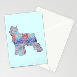 Bouvier Des Flandres Vintage Floral Pattern Blue Red Coral Pink Stationery Cards